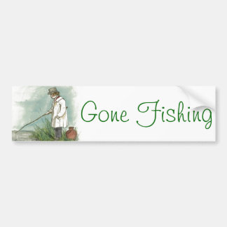 Gone Fishing Vintage Drawing Bumper Stickers