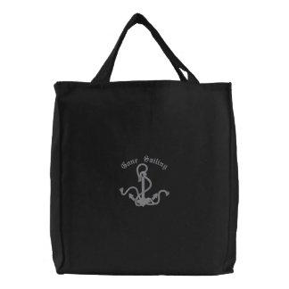 Gone Sailing Ships Anchor Embroidered Bag