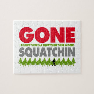 Gone Squatchin Bigfoot Hiding In Woods Jigsaw Puzzle