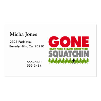 Gone Squatchin Bigfoot Hiding In Woods Pack Of Standard Business Cards