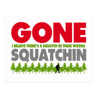 Gone Squatchin Bigfoot Hiding In Woods Postcard