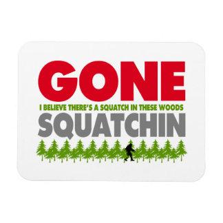 Gone Squatchin Bigfoot Hiding In Woods Rectangular Photo Magnet