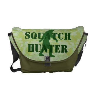 Gone squatchin bigfoot on green camo messenger bags