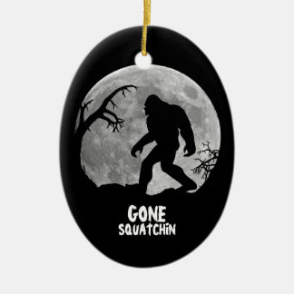 Gone Squatchin - Bigfoot silhouette with moon Christmas Ornament