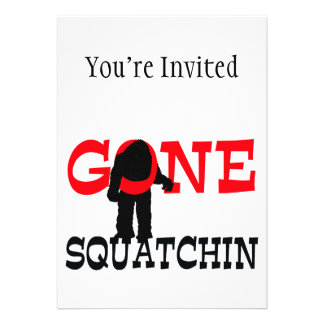 Gone Squatchin Bigfoot Trapped Personalized Invitation