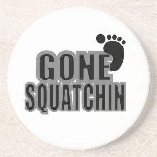 Gone Squatchin Black and Gray Logo Coasters