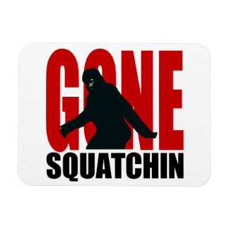 Gone Squatchin - Black and Red Rectangular Photo Magnet