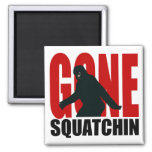 Gone Squatchin - Black and Red Square Magnet