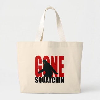 Gone Squatchin - Black and Red Jumbo Tote Bag