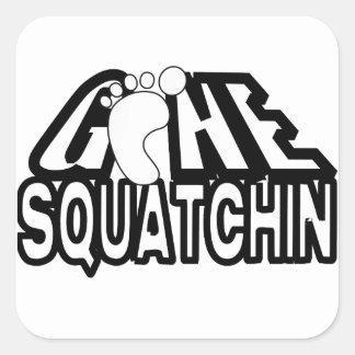Gone Squatchin Black And White Logo Square Sticker