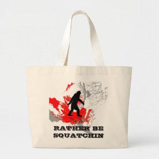 Gone Squatchin, black bigfoot Canvas Bags