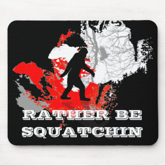 Gone Squatchin, black bigfoot Mouse Mat