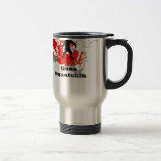 Gone Squatchin, black bigfoot 15 Oz Stainless Steel Travel Mug