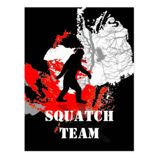 Gone Squatchin, black bigfoot Postcard