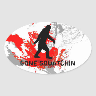 Gone Squatchin, black bigfoot Oval Sticker
