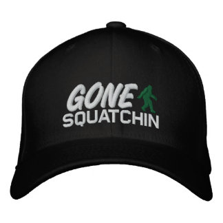 Gone Squatchin - black white and green Embroidered Hats