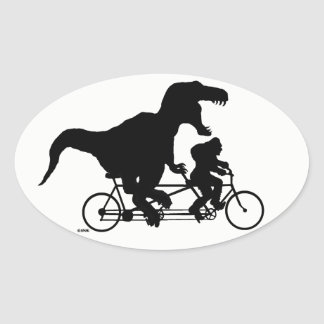Gone Squatchin cycling with T-rex Oval Sticker