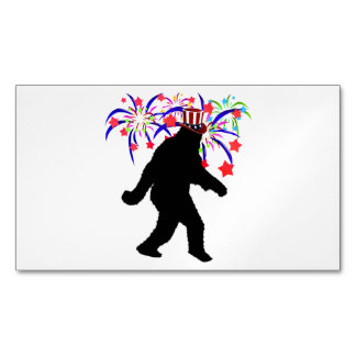 Gone Squatchin for 4th of July Fireworks Magnetic Business Cards