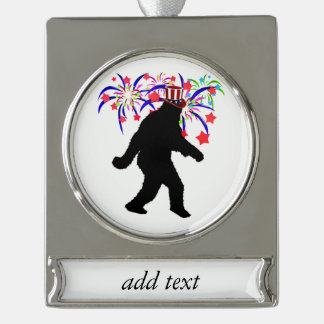Gone Squatchin for 4th of July Fireworks Silver Plated Banner Ornament