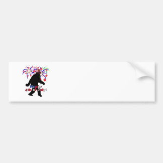 Gone Squatchin for 4th of July Text Fireworks Bumper Sticker