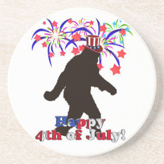 Gone Squatchin  for 4th of July (Text & Fireworks) Coaster