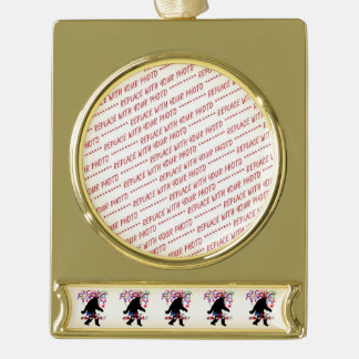Gone Squatchin  for 4th of July (Text & Fireworks) Gold Plated Banner Ornament