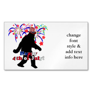 Gone Squatchin  for 4th of July (Text & Fireworks) Magnetic Business Cards