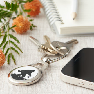 Gone Squatchin for Easter Eggs Silver-Colored Oval Keychain