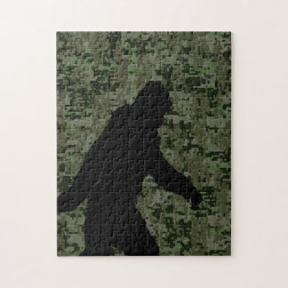 Gone Squatchin For on Olive Digital Camouflage Jigsaw Puzzle