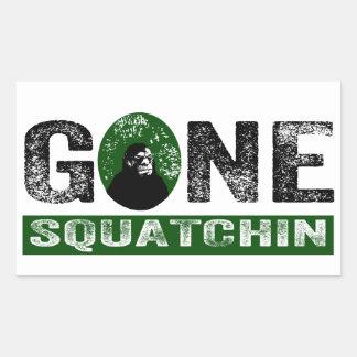 Gone Squatchin (Green) Grunge Squatch Rectangular Sticker