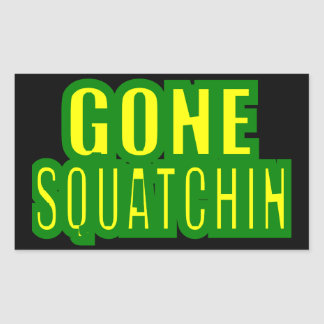 Gone Squatchin Green /Yellow Rectangle Sticker