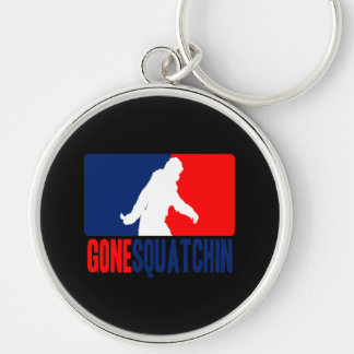 Gone Squatchin League Silver-Colored Round Keychain