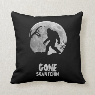 Gone Squatchin, sasquatch silhouette with moon Throw Pillow