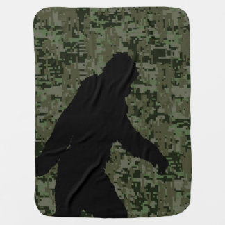 Gone Squatchin Silhouette on Digital Camouflage Baby Blanket