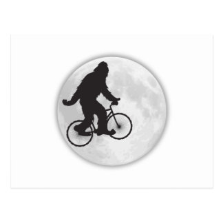 GONE SQUATCHIN SQUATCHY SQUATCH BIKE RIDING MOON POST CARDS