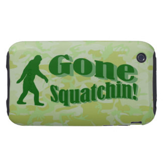 Gone Squatchin text on green camouflage Tough iPhone 3 Cases
