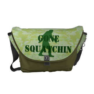 Gone Squatchin text on green camouflage Commuter Bags