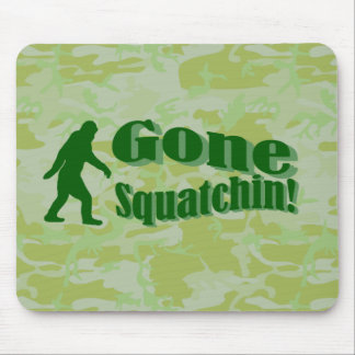 Gone Squatchin text on green camouflage Mouse Mat