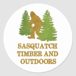 Gone Squatchin Timber and Outdoors Round Sticker