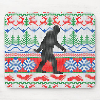 Gone Squatchin Ugly Christmas Sweater Knitting Mouse Mat