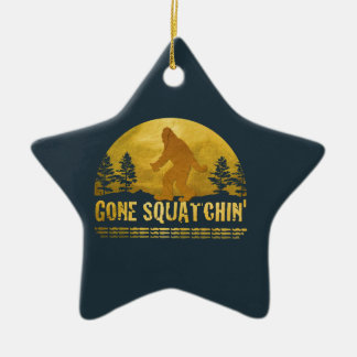 Gone Squatchin' (vintage sunset) Christmas Ornament