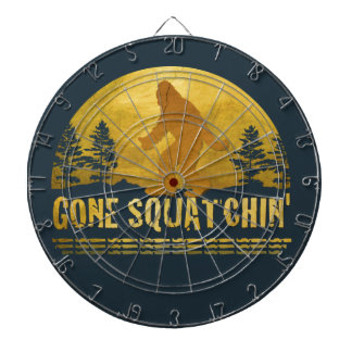 Gone Squatchin' (vintage sunset) Dartboard With Darts