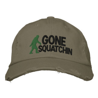 Gone Squatchin with  bigfoot logo Embroidered Hats