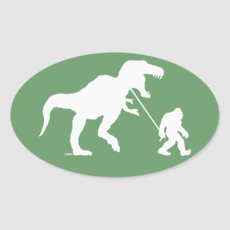 Gone Squatchin with T-rex Oval Sticker