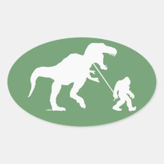 Gone Squatchin with T-rex Oval Sticker