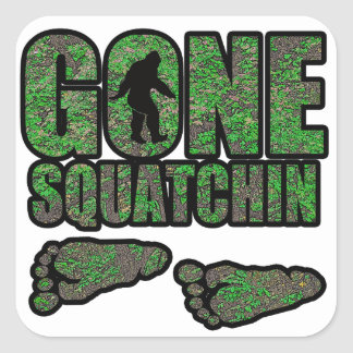 Gone Squatchin woodlands Square Stickers