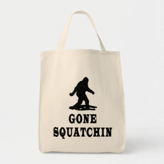 Gone Squatching, Finding Bigfoot, Squatch Grocery Tote Bag