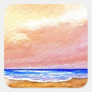 Gone Swimming Beach Ocean Surf Waves Sandals Square Sticker