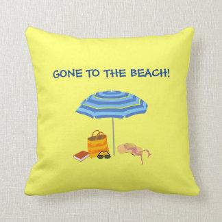 Gone to the Beach Umbrella Yellow Summer Throw Pillows