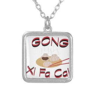 Gong Xi Fa Cai Square Pendant Necklace